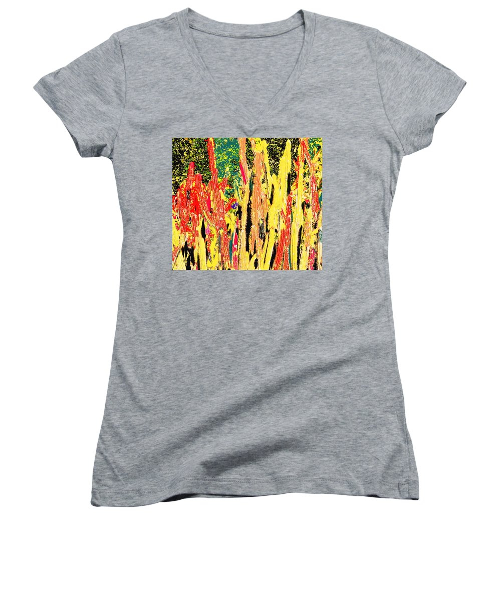 Cactus Women's V-Neck (Athletic Fit) featuring the digital art Bridgestone Cacti by Ian MacDonald