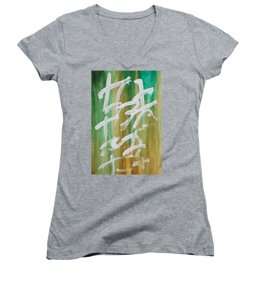 Chinese Women's V-Neck T-Shirt featuring the painting Chinese Numbers by Lauren Luna