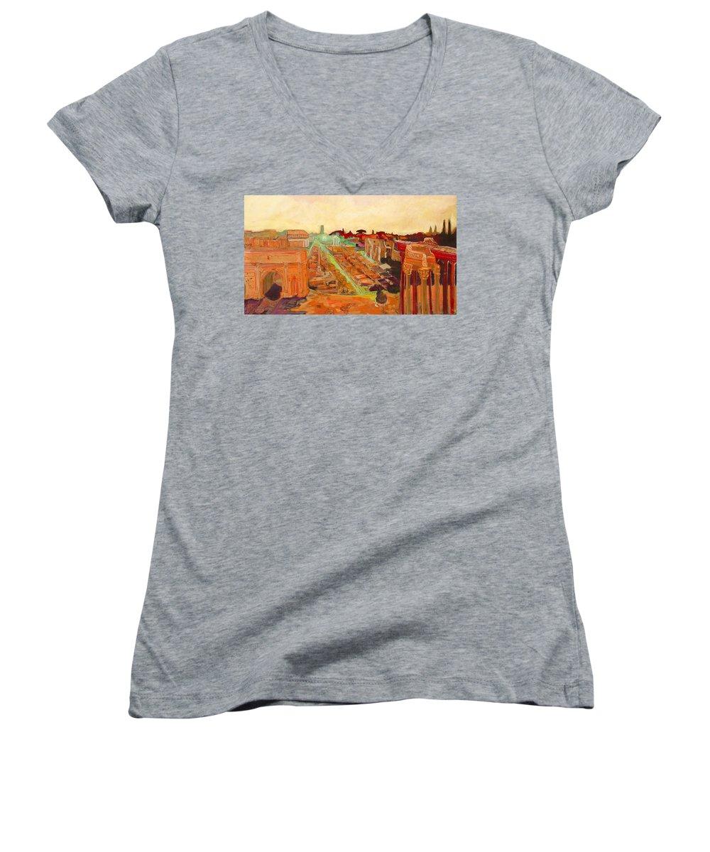 Rome Women's V-Neck T-Shirt featuring the painting Foro Romano by Kurt Hausmann