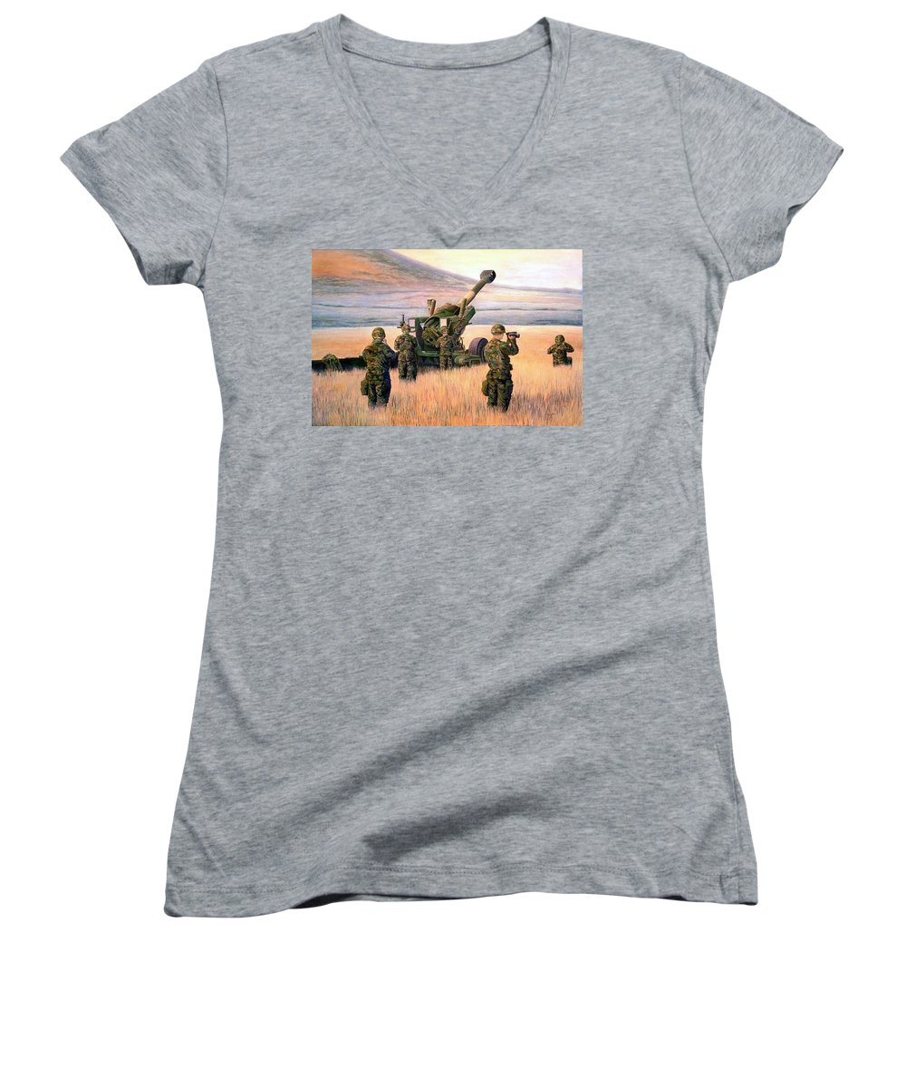 Signed And Numbered Prints Of The Montana National Guard Women's V-Neck (Athletic Fit) featuring the print 1-190th Artillery by Scott Robertson