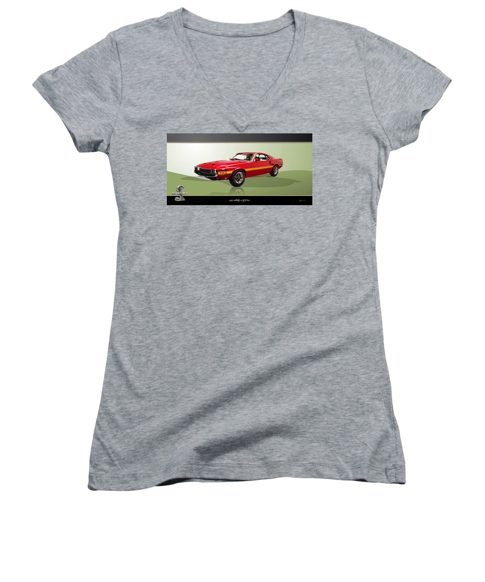 Wheels Of Fortune By Serge Averbukh Women's V-Neck featuring the photograph 1969 Shelby V8 Gt350 by Serge Averbukh