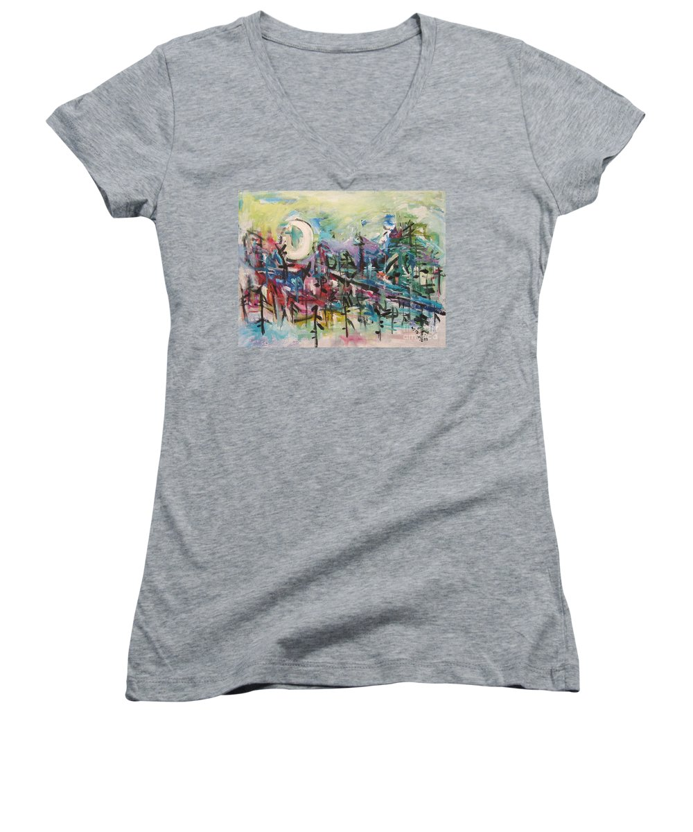 Abstract Paintings Women's V-Neck (Athletic Fit) featuring the painting Bummer Flat2 by Seon-Jeong Kim