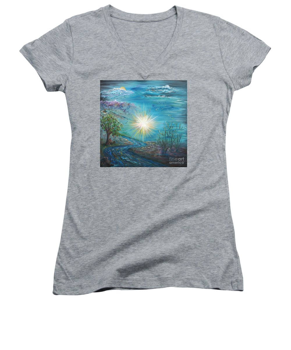 Creation Women's V-Neck T-Shirt featuring the painting Creation by Nadine Rippelmeyer