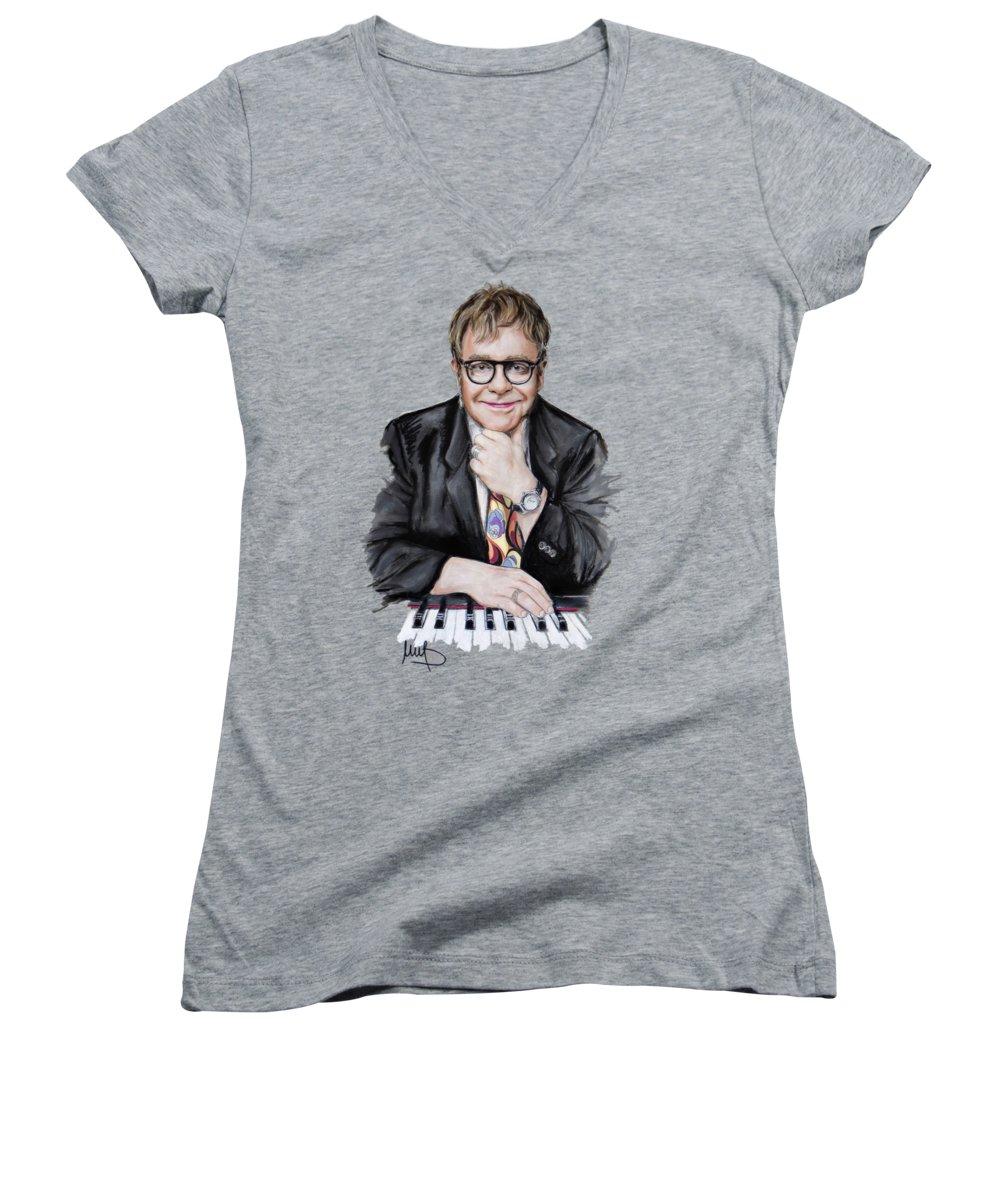 Elton John Women's V-Neck T-Shirts