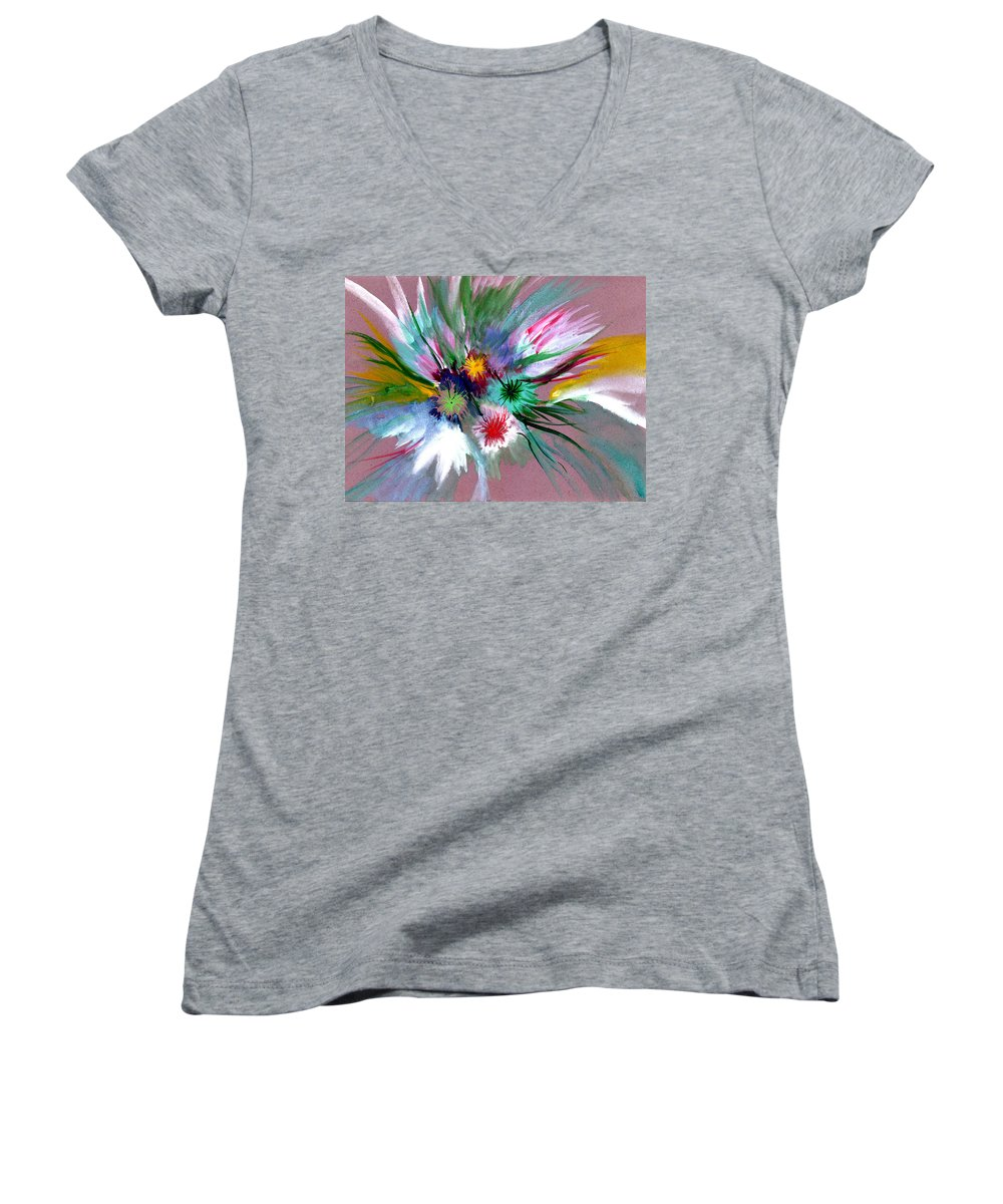 Flowers Women's V-Neck T-Shirt featuring the painting Flowers by Anil Nene