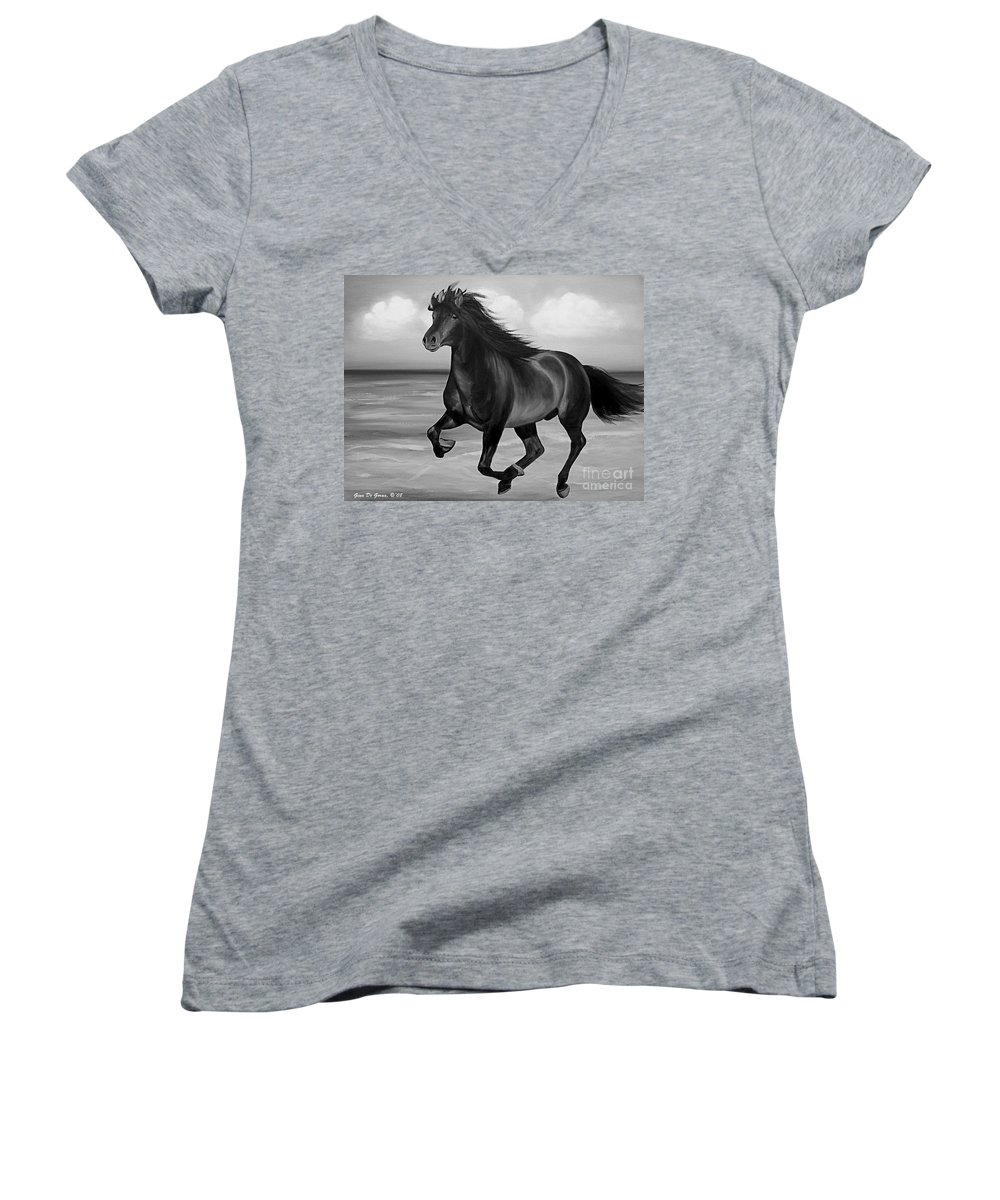 Horses Women's V-Neck T-Shirt featuring the painting Horses In Paradise Run by Gina De Gorna