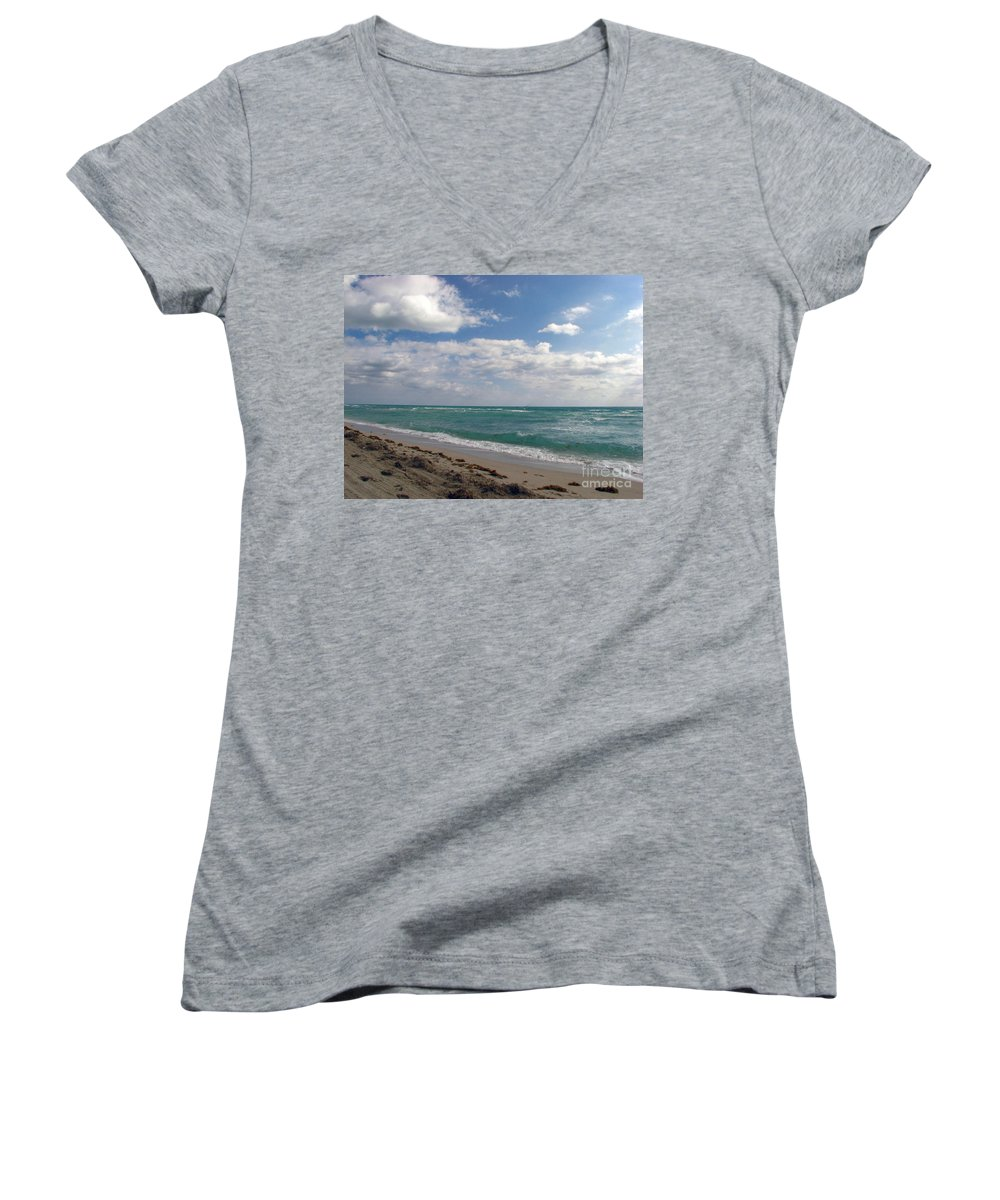 Miami Beach Women's V-Neck (Athletic Fit) featuring the photograph Miami Beach by Amanda Barcon
