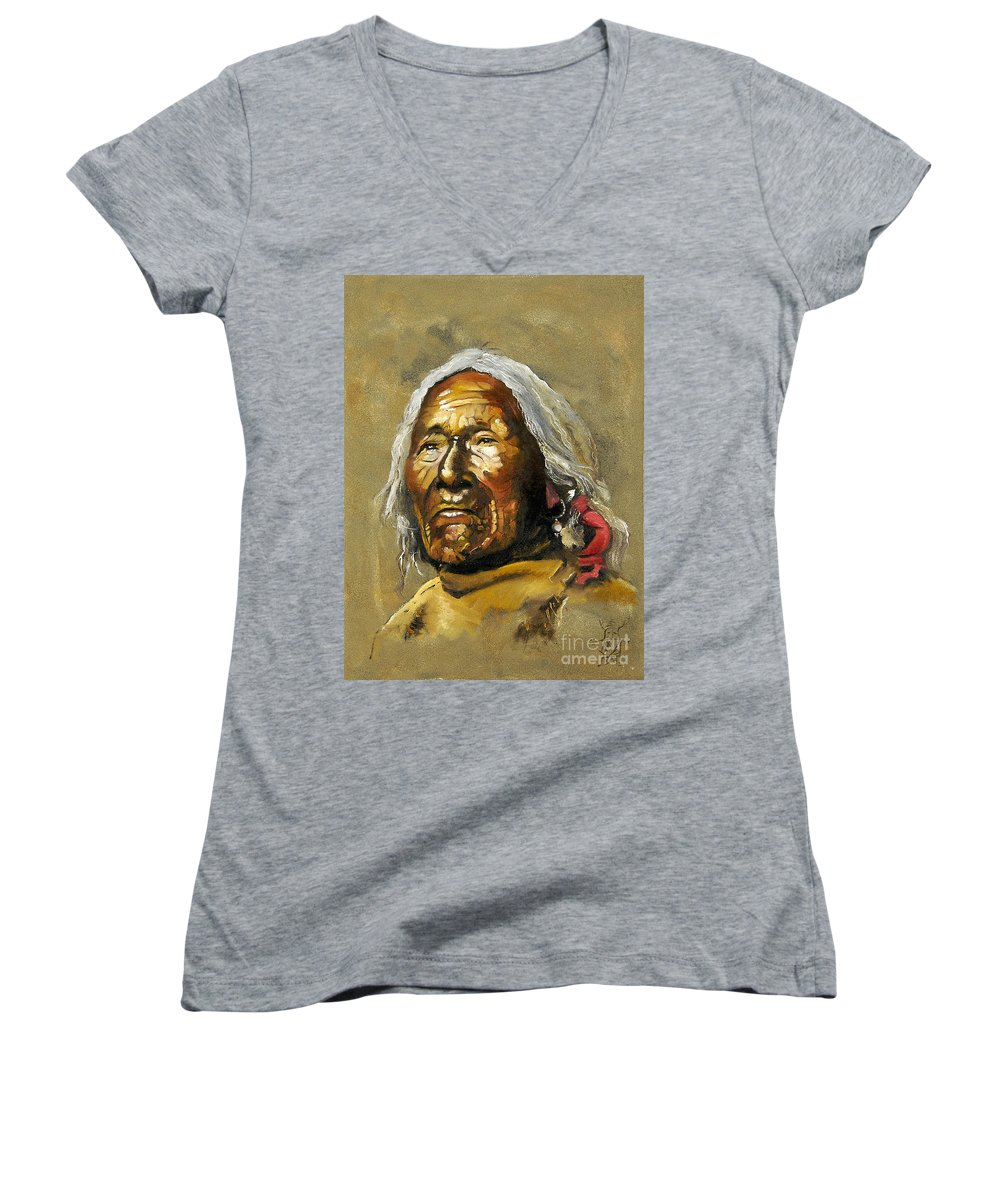 Southwest Art Women's V-Neck T-Shirt featuring the painting Painted Sands Of Time by J W Baker