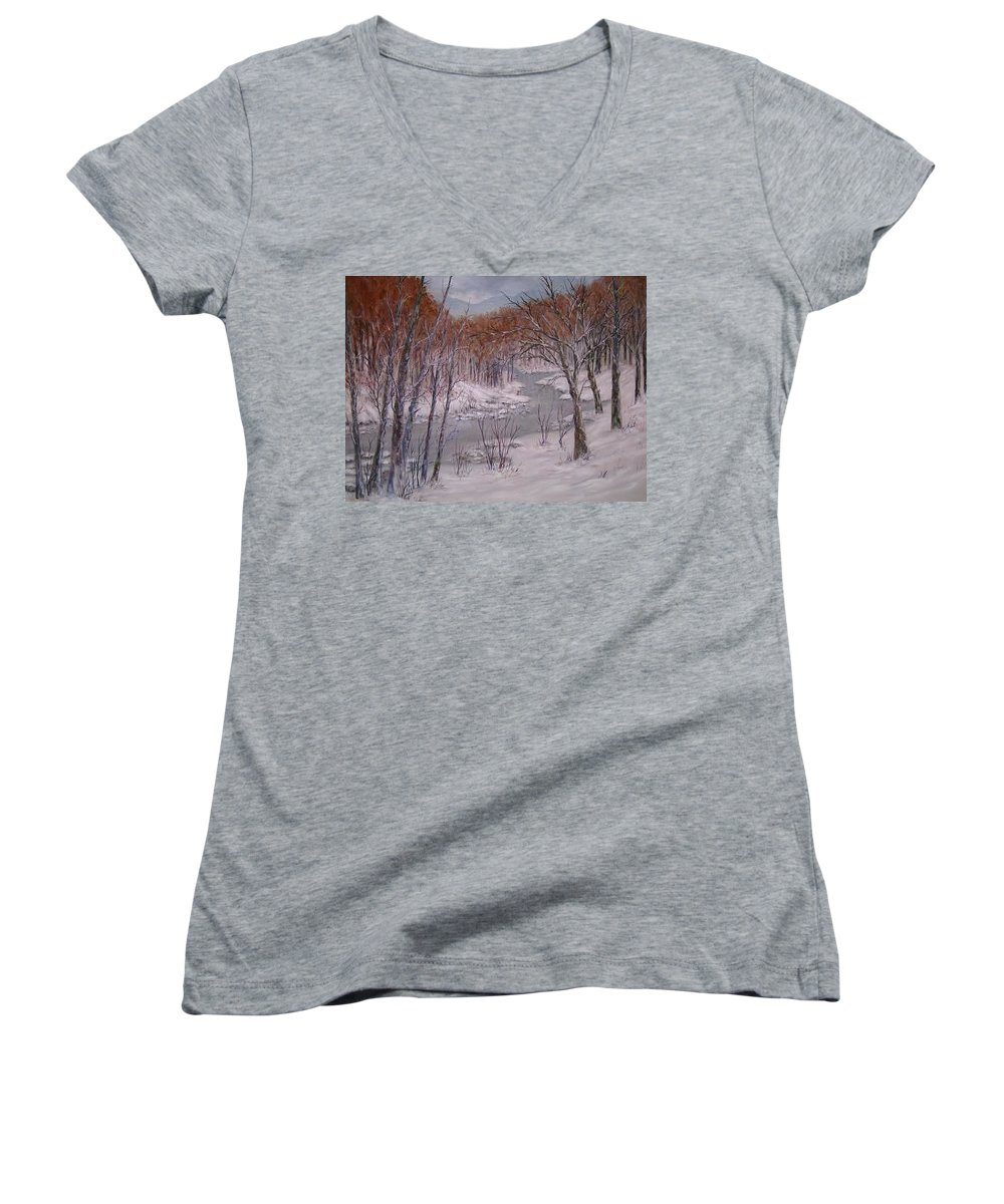 Snow; Landscape Women's V-Neck (Athletic Fit) featuring the painting Peace And Quiet by Ben Kiger