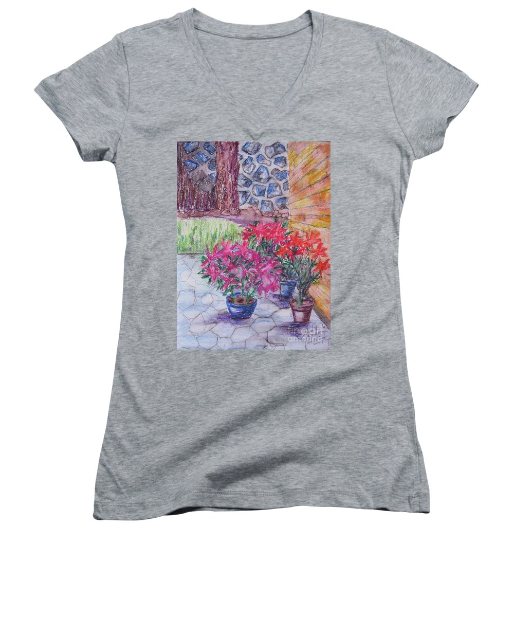 Poinsettias Women's V-Neck T-Shirt featuring the painting Poinsettias - Gifted by Judith Espinoza