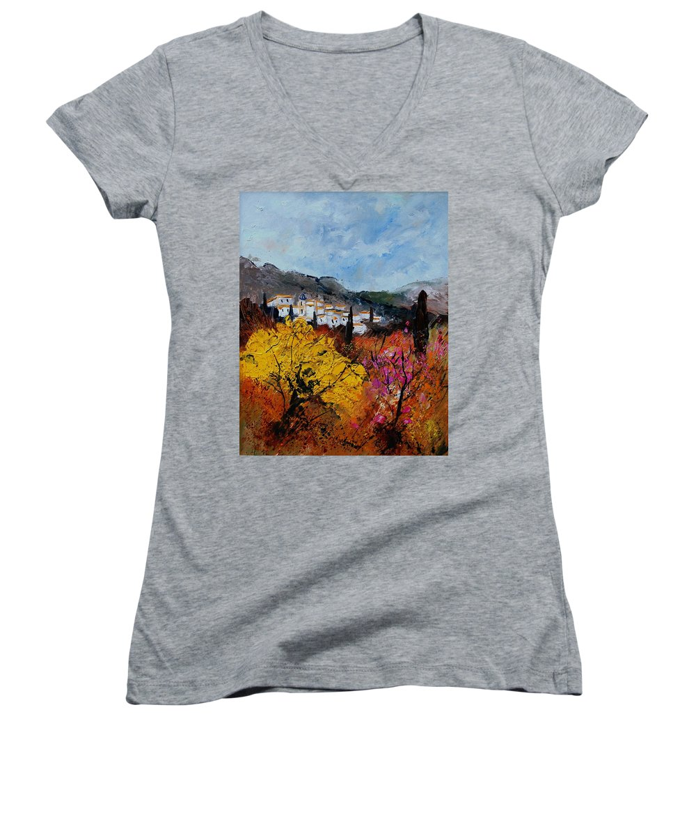 Provence Women's V-Neck T-Shirt featuring the painting Provence by Pol Ledent