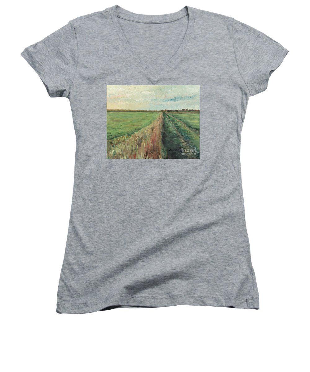 Provence Women's V-Neck T-Shirt featuring the painting Provence Villa by Nadine Rippelmeyer
