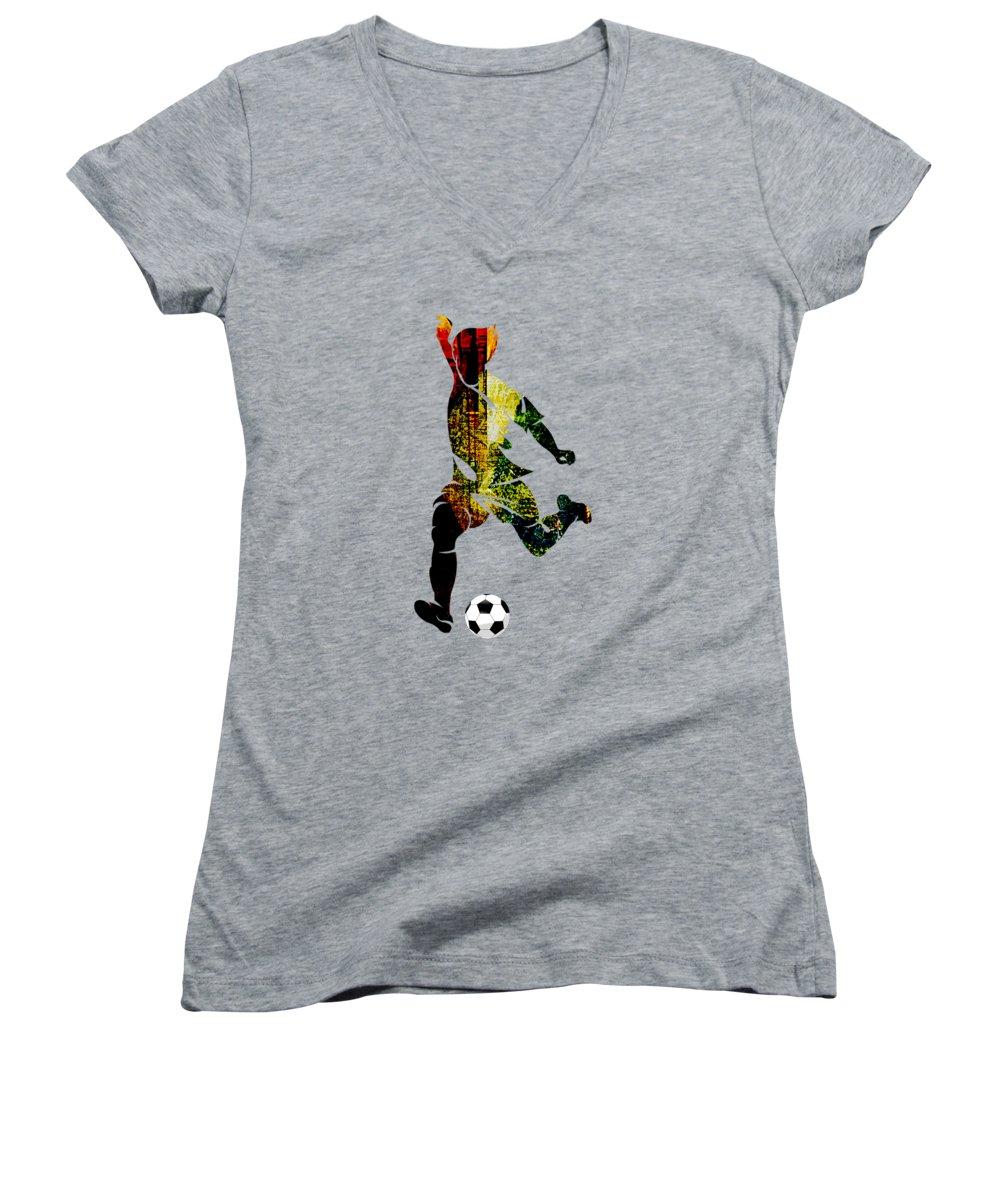 Soccer Women's V-Neck T-Shirts