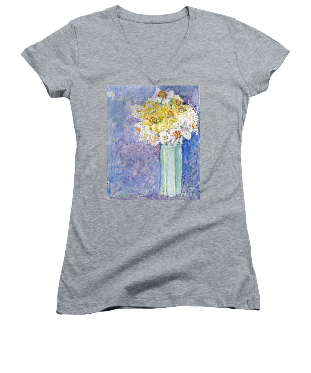 Watercolor Women's V-Neck (Athletic Fit) featuring the painting Spring Blossoms by Jan Bennicoff