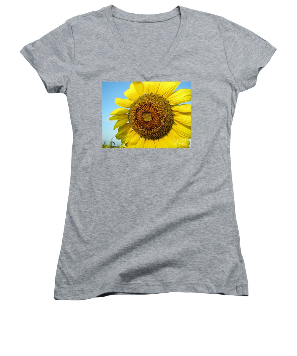 Sunflower Women's V-Neck T-Shirt featuring the photograph Sunflower Series by Amanda Barcon