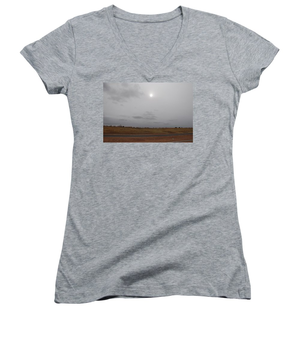Desert Women's V-Neck T-Shirt featuring the photograph Sunset In The Desert by Rob Hans