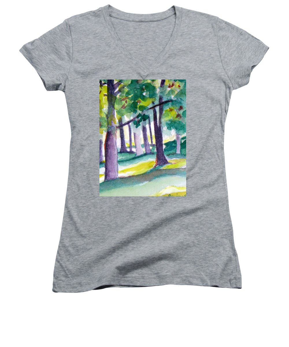 Nature Women's V-Neck (Athletic Fit) featuring the painting The Perfect Day by Jan Bennicoff