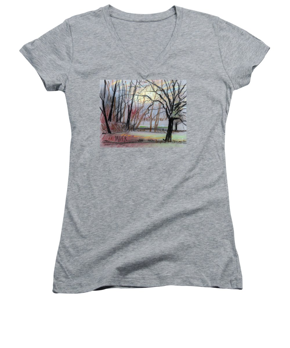 Landscape Women's V-Neck (Athletic Fit) featuring the drawing Turner South by Donald Maier