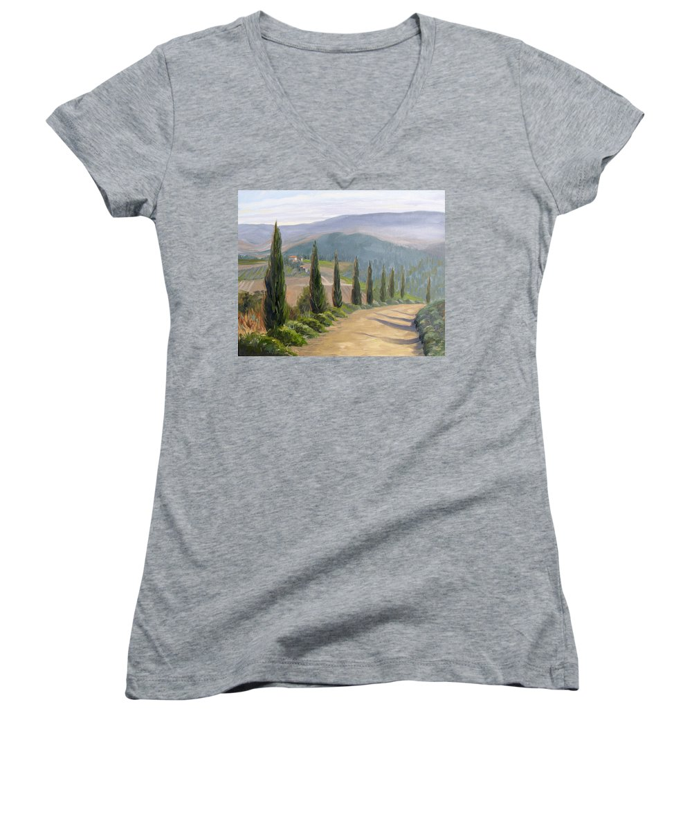 Landscape Women's V-Neck (Athletic Fit) featuring the painting Tuscany Road by Jay Johnson