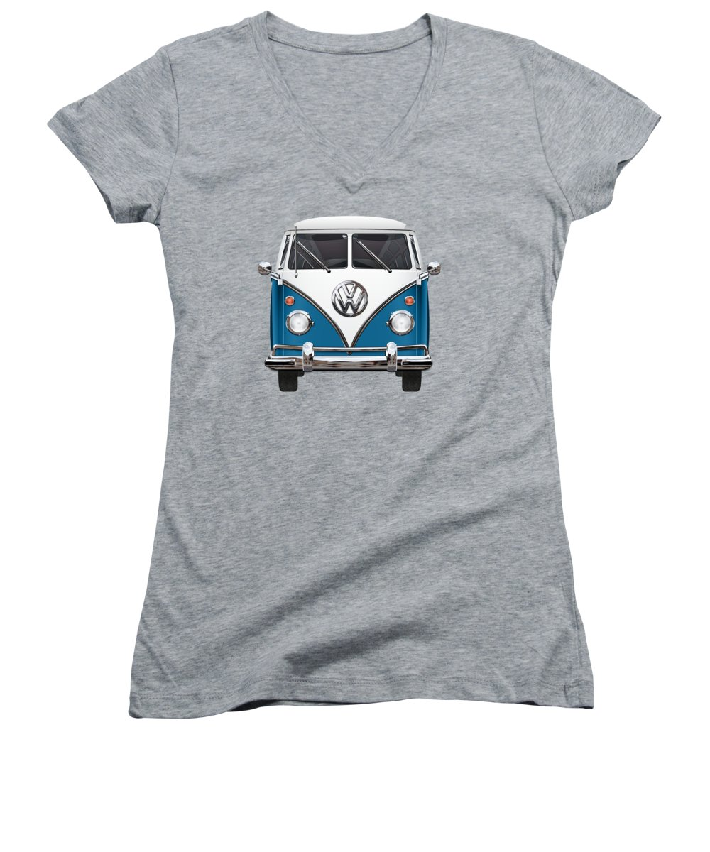 'volkswagen Type 2' Collection By Serge Averbukh Women's V-Neck T-Shirt (Junior Cut) featuring the photograph Volkswagen Type 2 - Blue And White Volkswagen T 1 Samba Bus Over Orange Canvas by Serge Averbukh