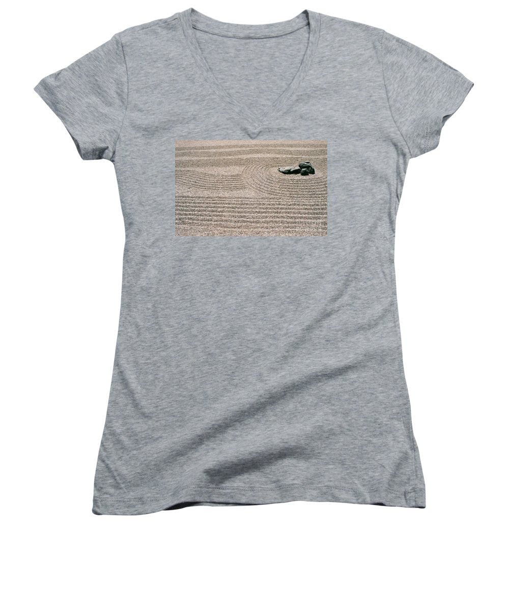 Zen Women's V-Neck T-Shirt featuring the photograph Zen Garden by Dean Triolo