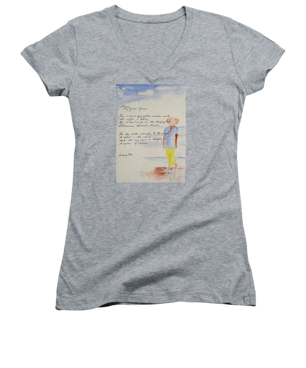 Love Heart Valentines Women's V-Neck (Athletic Fit) featuring the painting Alone by Roger Cummiskey
