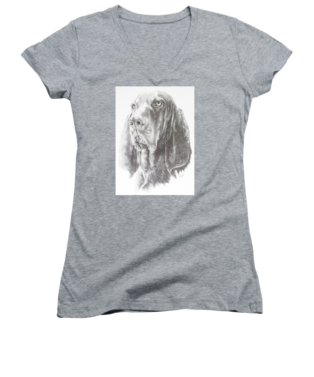 Dog Women's V-Neck T-Shirt featuring the drawing Black And Tan Coonhound by Barbara Keith