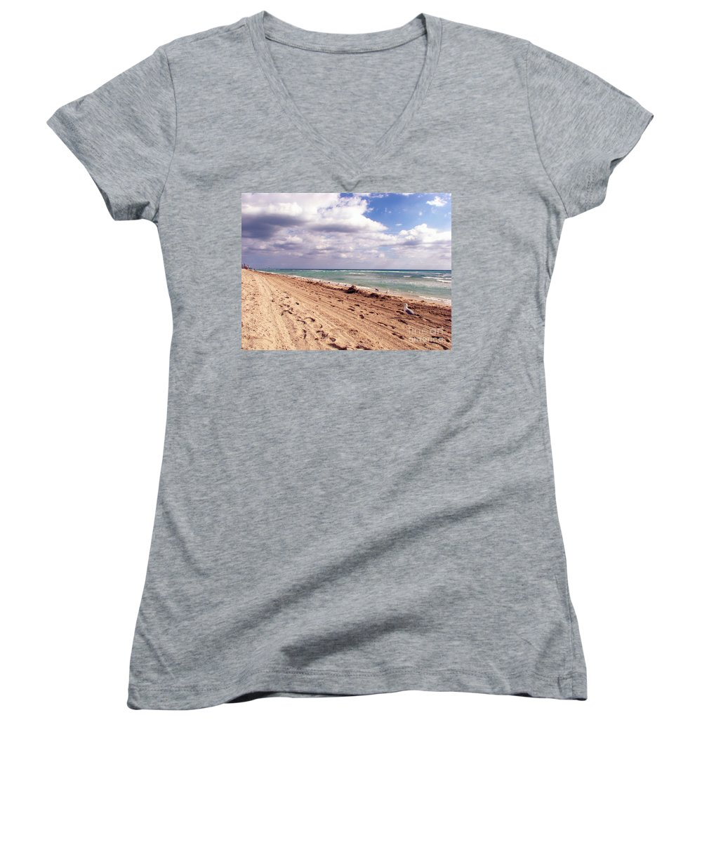 Beaches Women's V-Neck (Athletic Fit) featuring the photograph Miami Beach by Amanda Barcon