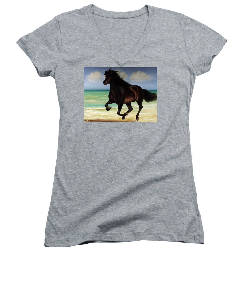 Horse Women's V-Neck (Athletic Fit) featuring the painting Horses In Paradise Run by Gina De Gorna