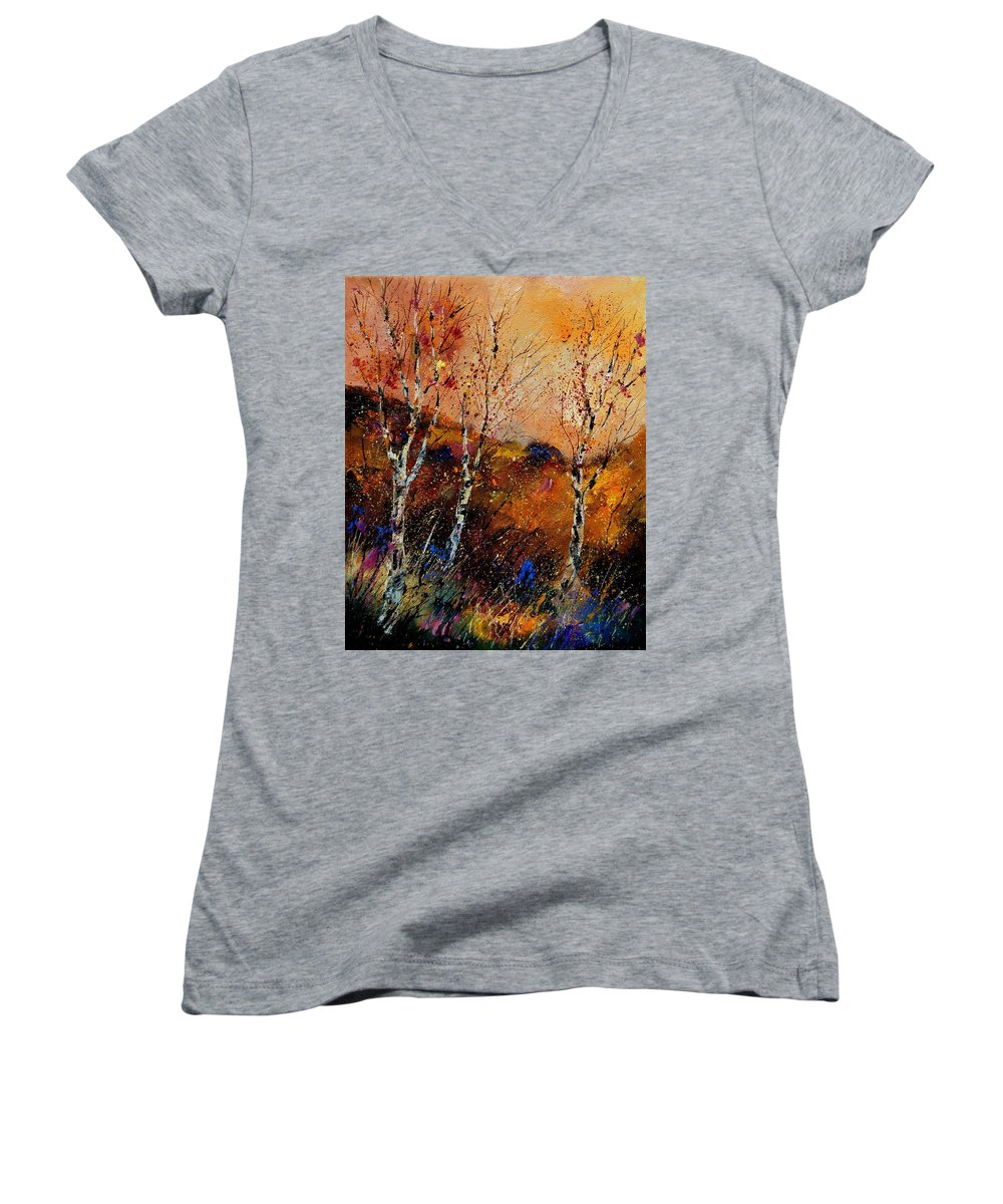 River Women's V-Neck T-Shirt featuring the painting 3 Poplars by Pol Ledent