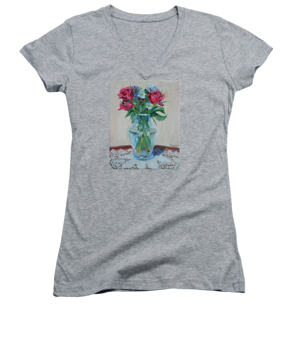 Roses Women's V-Neck (Athletic Fit) featuring the painting 3 Roses by Paul Walsh