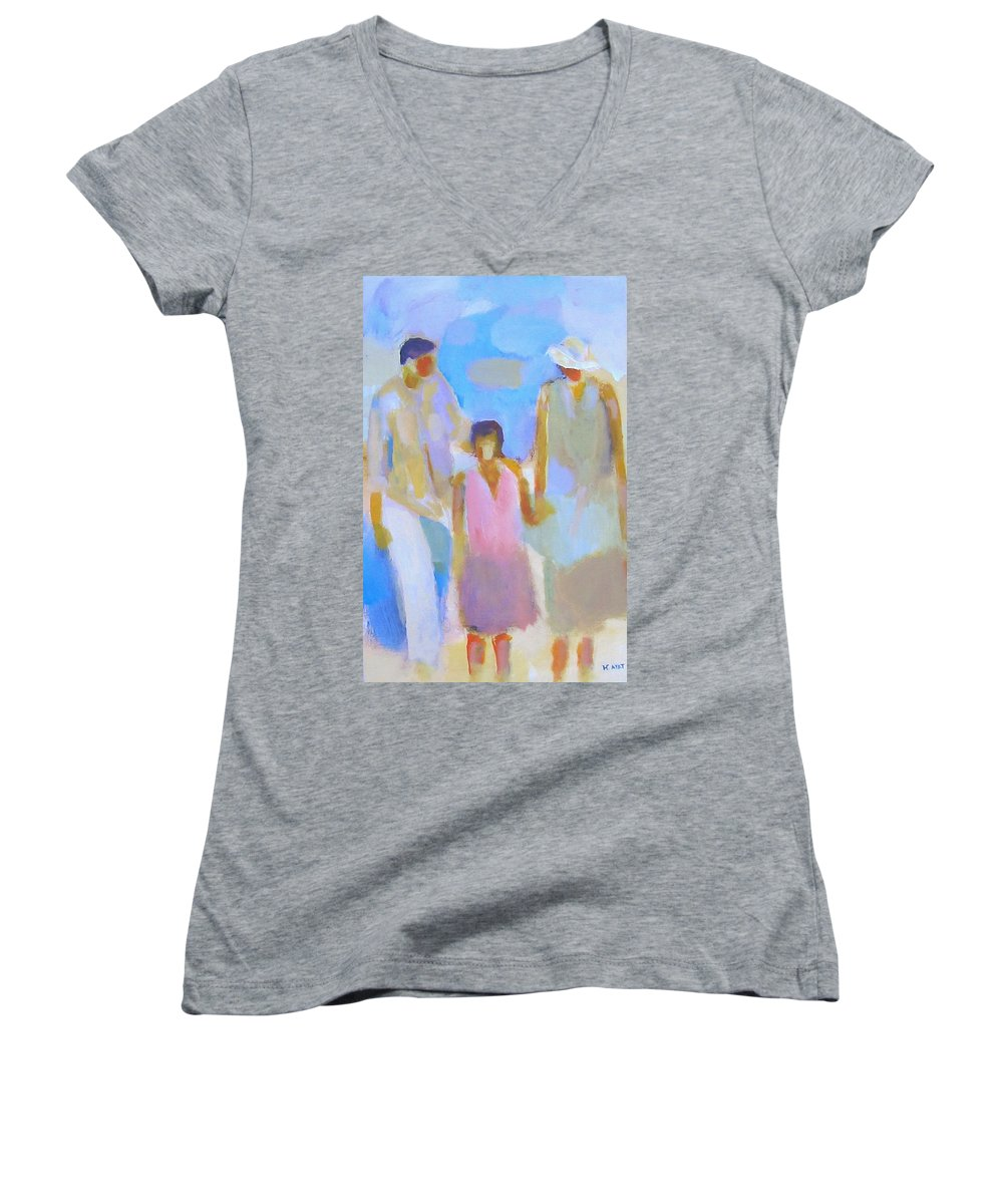 Abstract Women's V-Neck T-Shirt featuring the painting 3 With Love by Habib Ayat