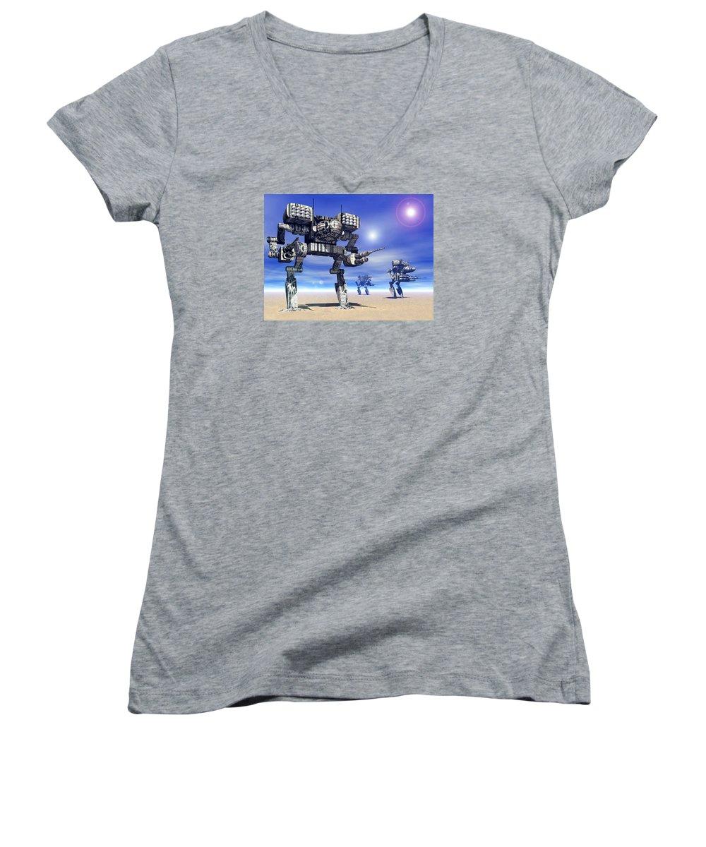 Science Fiction Women's V-Neck T-Shirt featuring the digital art 501st Mech Trinary by Curtiss Shaffer
