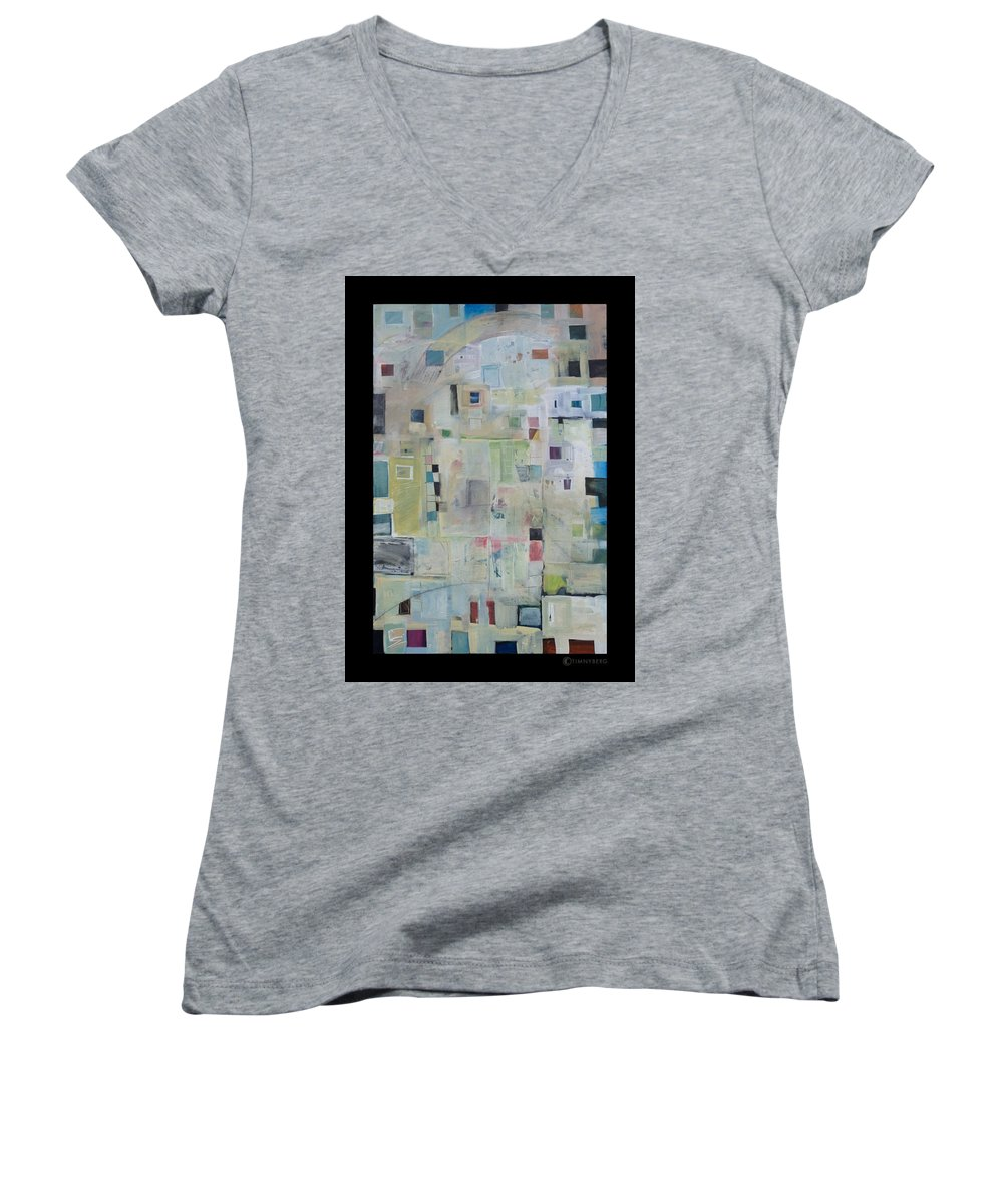 Abstract Women's V-Neck T-Shirt featuring the painting 7am In The City That Doesn by Tim Nyberg