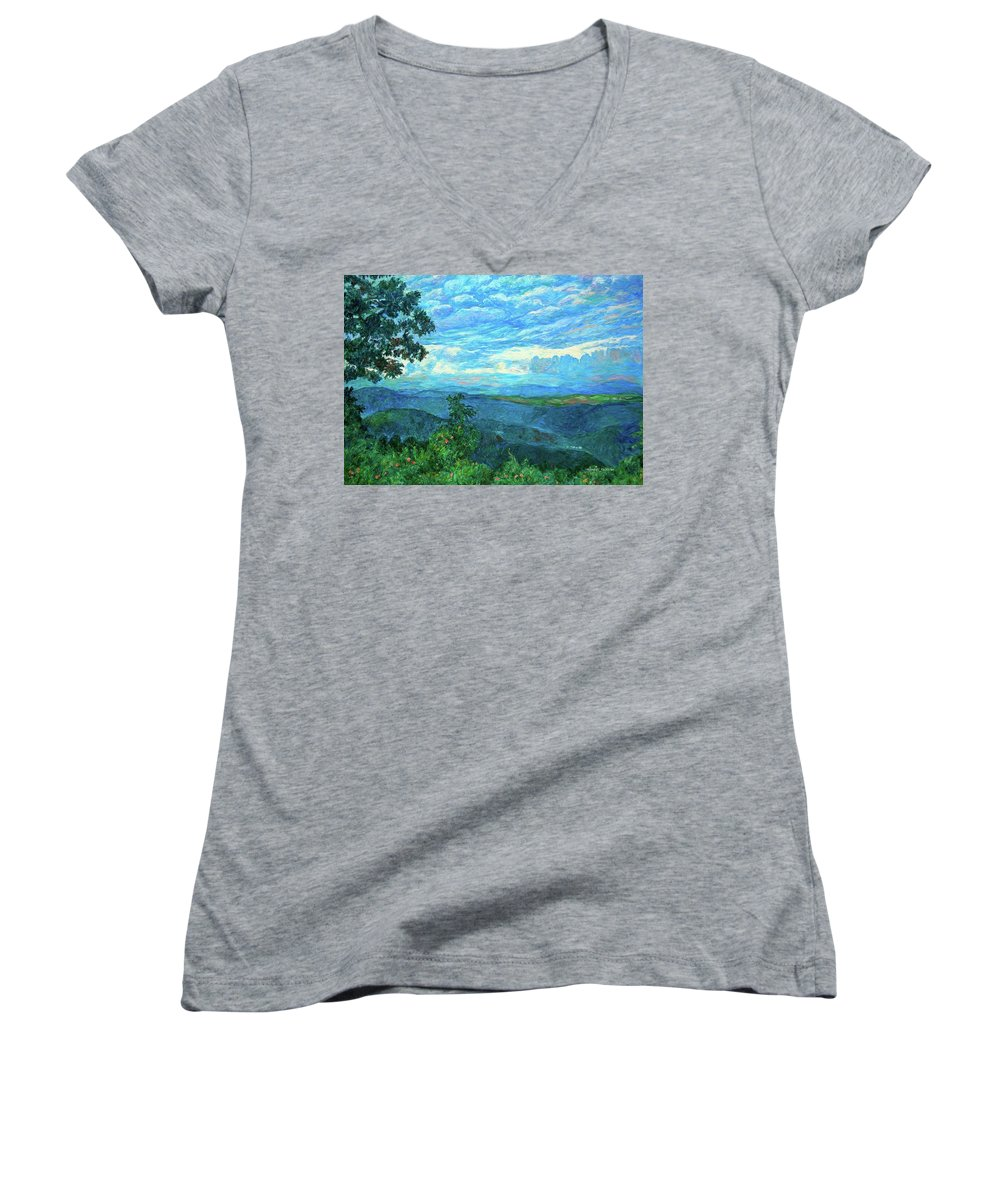 Mountains Women's V-Neck T-Shirt featuring the painting A Break In The Clouds by Kendall Kessler