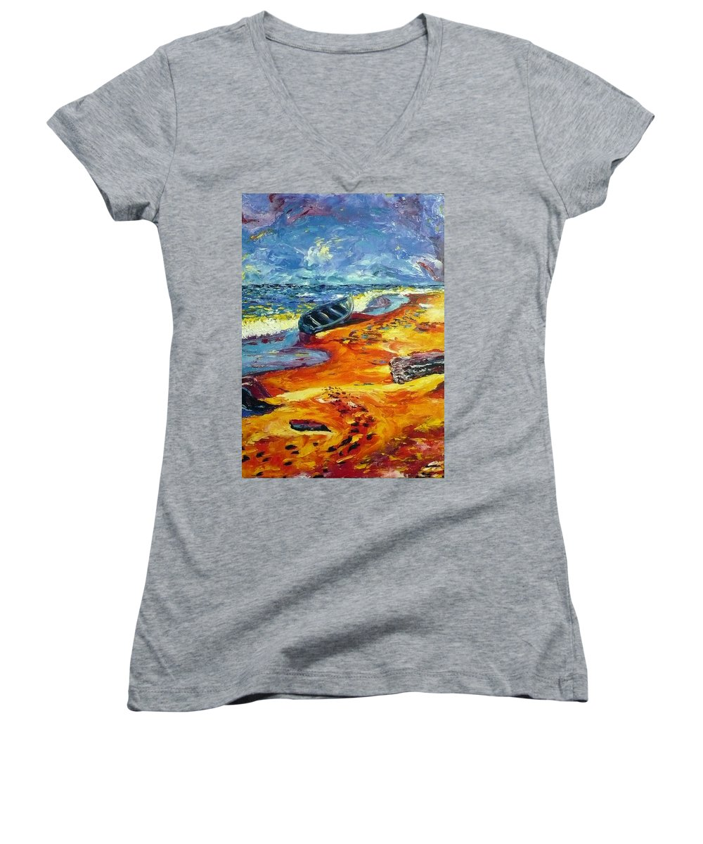 Landscape Women's V-Neck (Athletic Fit) featuring the painting A Canoe At The Beach by Ericka Herazo