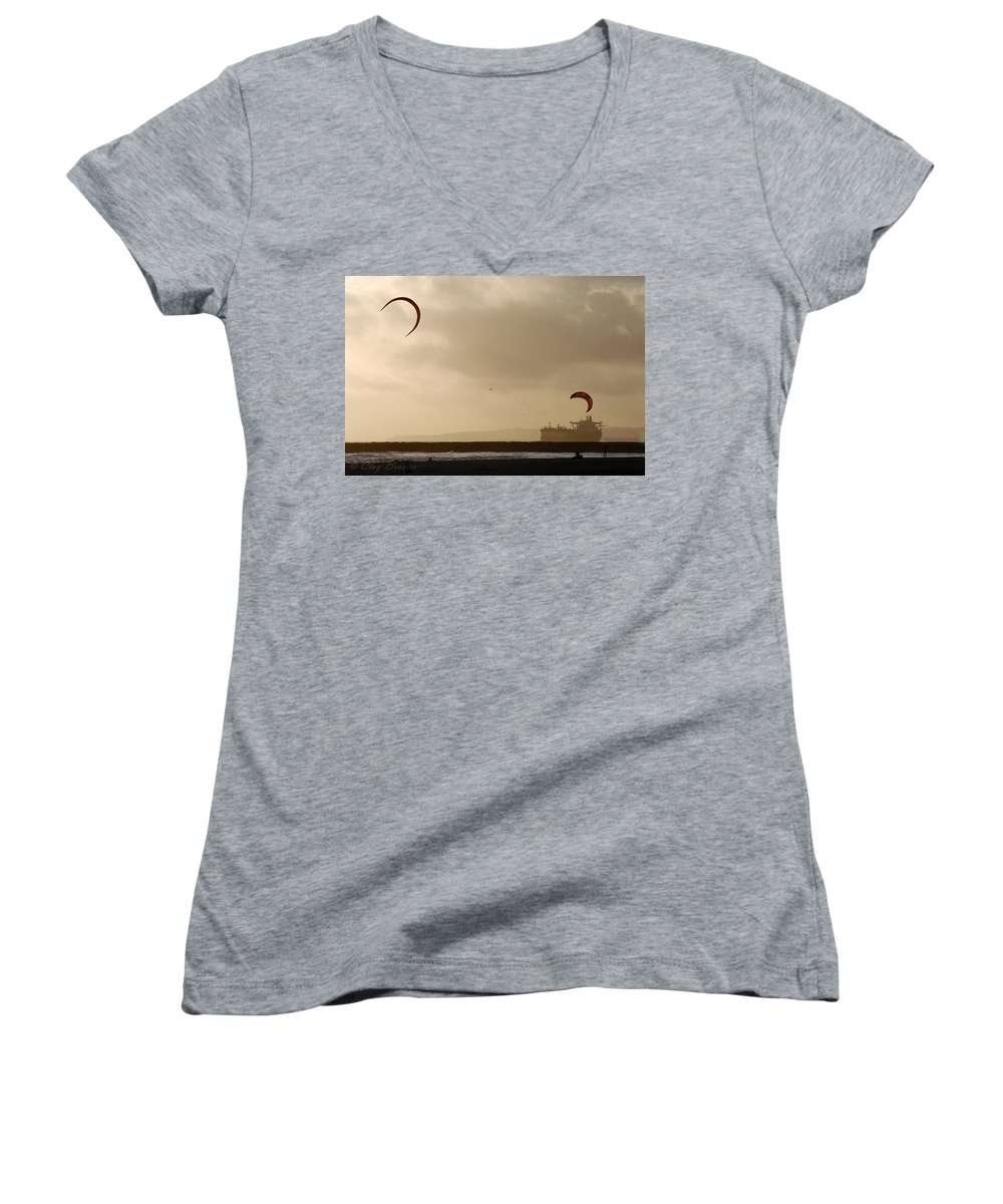 Clay Women's V-Neck (Athletic Fit) featuring the photograph A Day At The Beach by Clayton Bruster