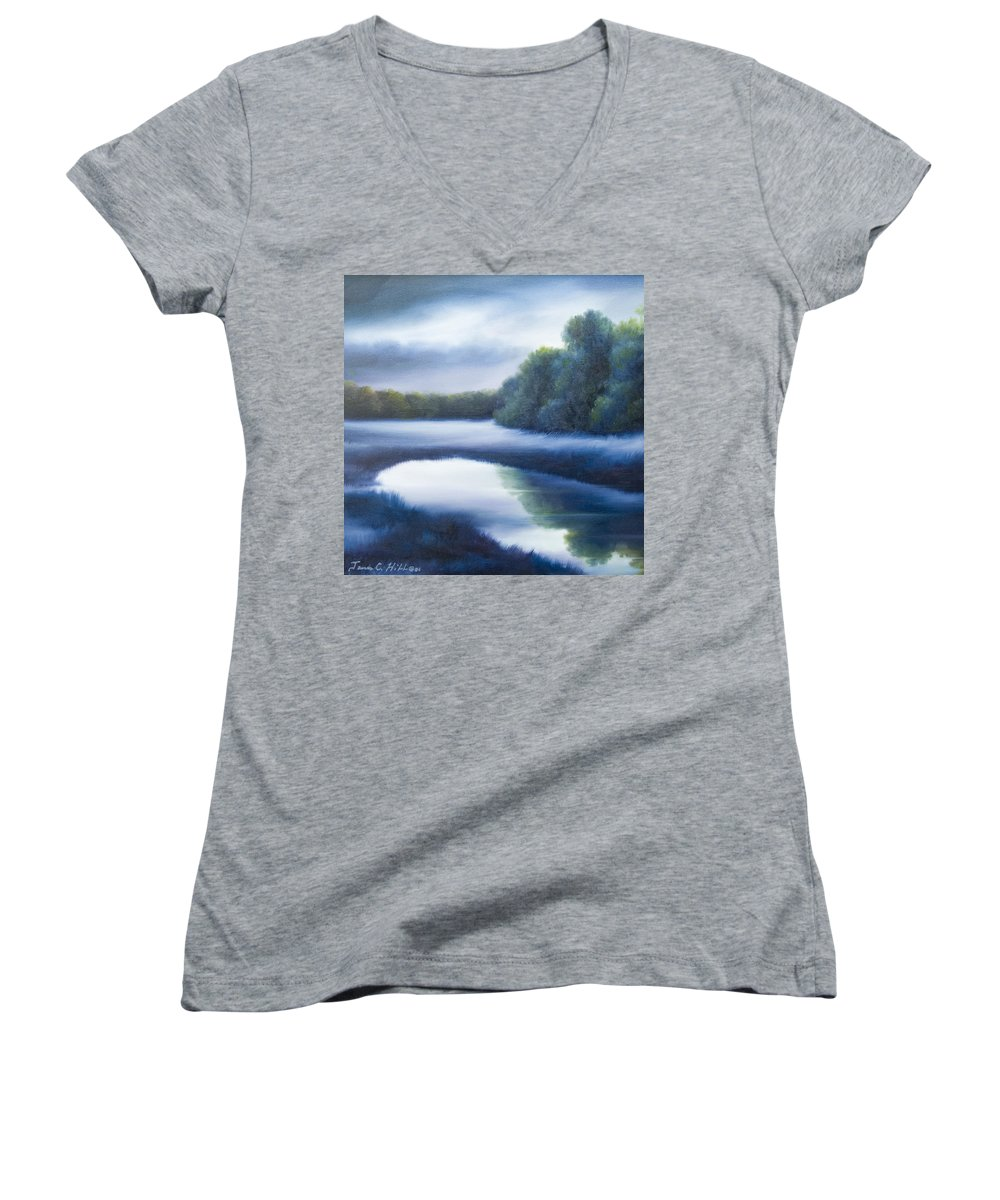 Nature; Lake; Sunset; Sunrise; Serene; Forest; Trees; Water; Ripples; Clearing; Lagoon; James Christopher Hill; Jameshillgallery.com; Foliage; Sky; Realism; Oils; Green; Tree; Blue; Pink; Pond; Lake Women's V-Neck T-Shirt featuring the painting A Day In The Life 4 by James Christopher Hill