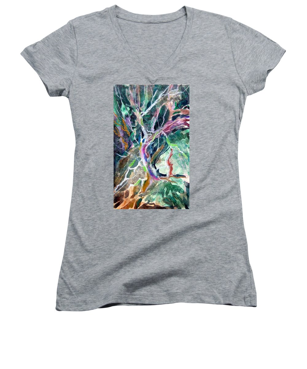 Tree Women's V-Neck T-Shirt featuring the painting A Dying Tree by Mindy Newman