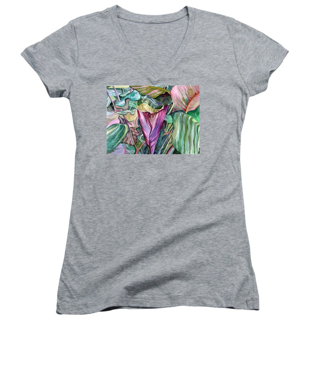 Garden Women's V-Neck (Athletic Fit) featuring the painting A Light In The Garden by Mindy Newman