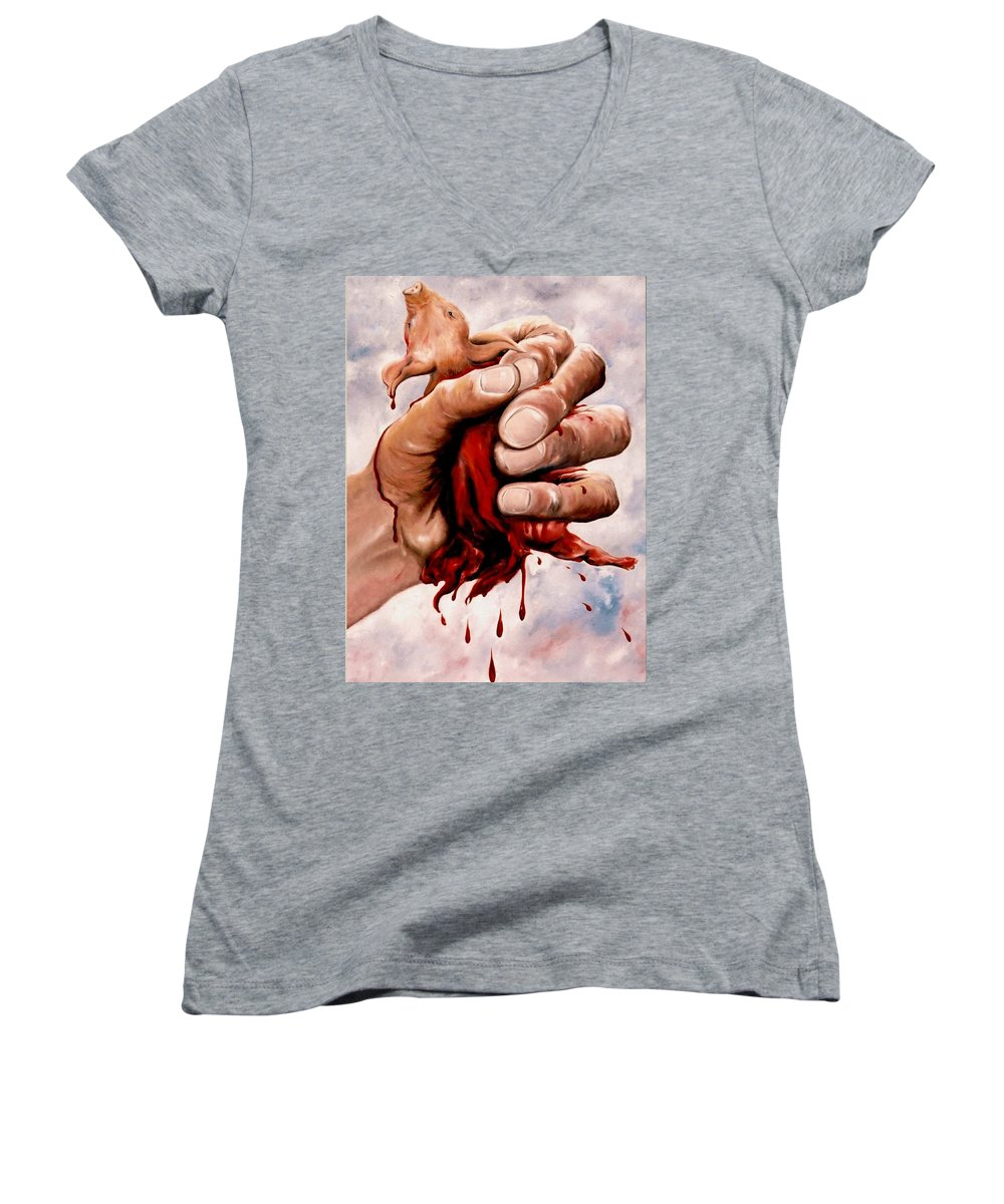 Surreal Women's V-Neck T-Shirt featuring the painting A Pigs Life by Mark Cawood
