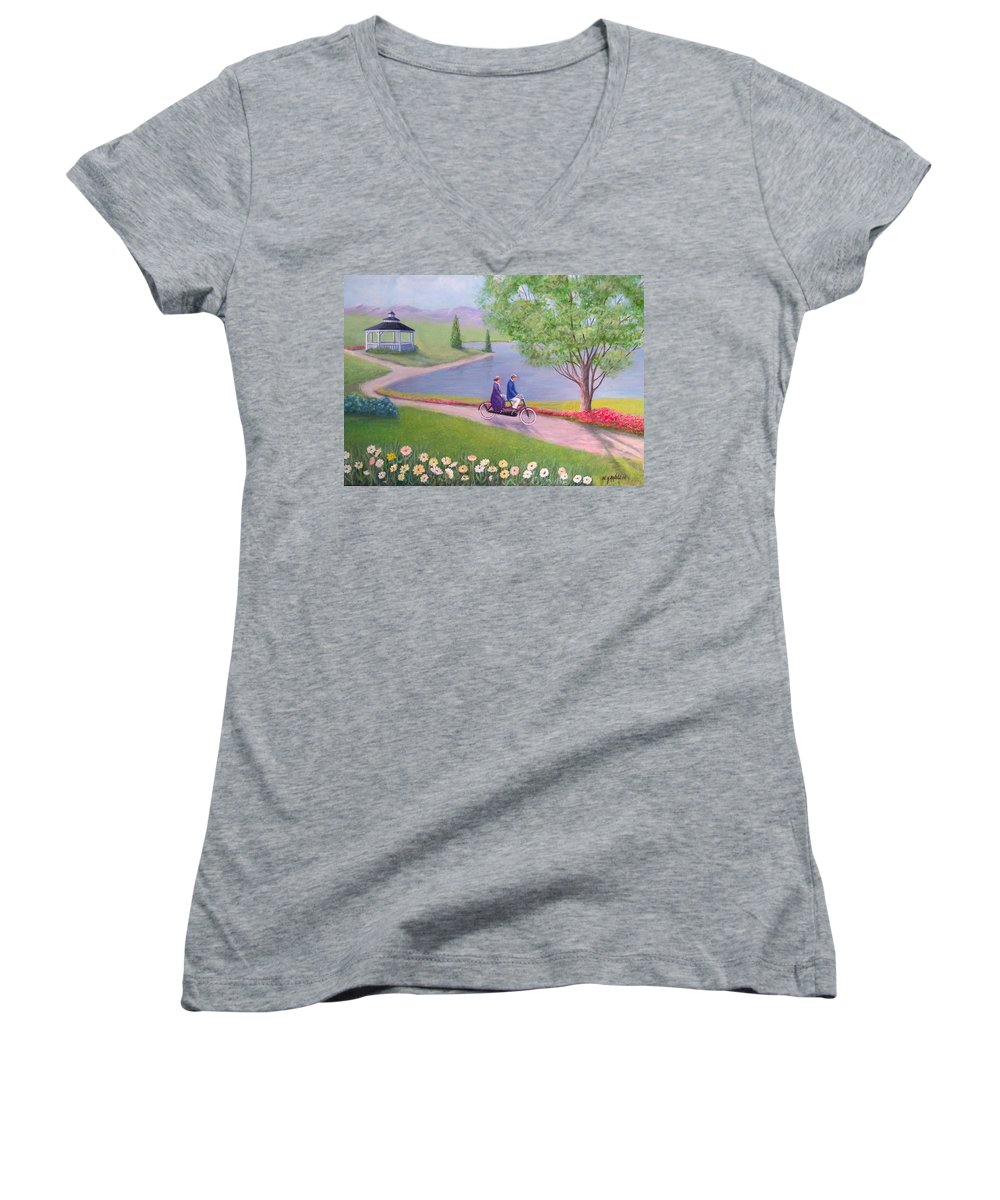 Landscape Women's V-Neck (Athletic Fit) featuring the painting A Ride In The Park by William H RaVell III