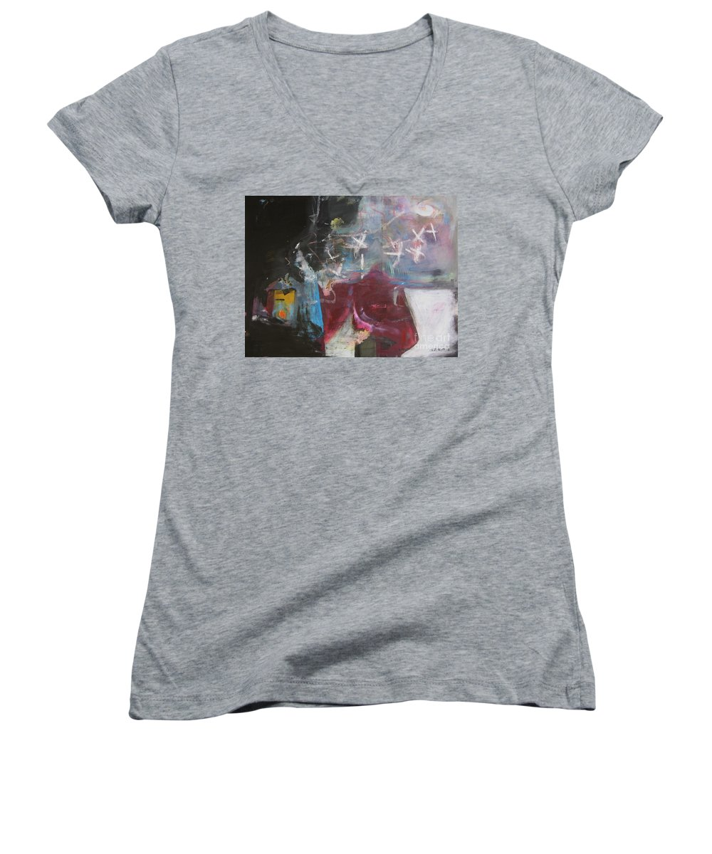 Abstract Paintings Women's V-Neck (Athletic Fit) featuring the painting A Short Story by Seon-Jeong Kim