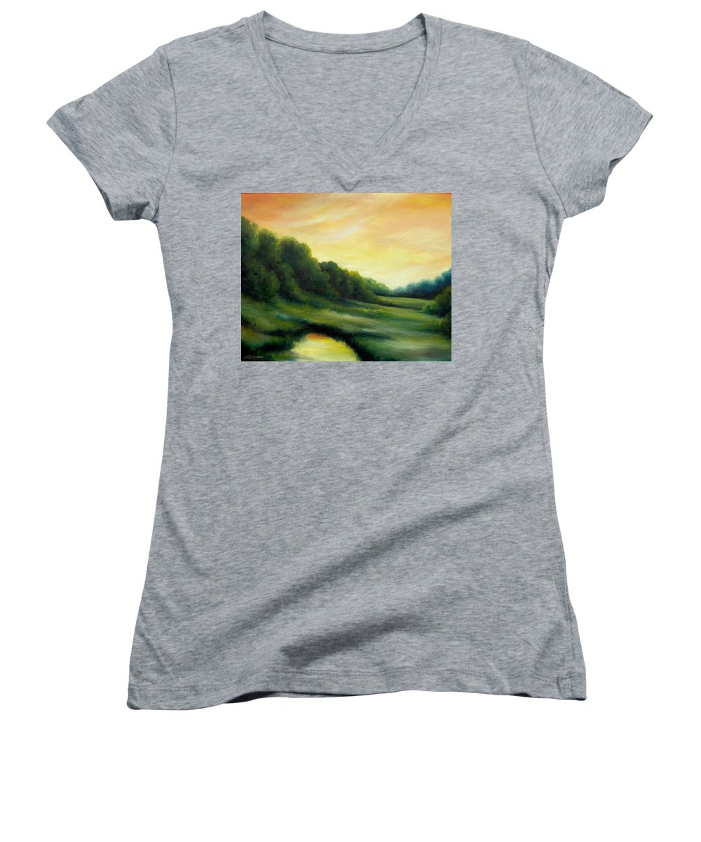 Clouds Women's V-Neck T-Shirt featuring the painting A Spring Evening Part Two by James Christopher Hill