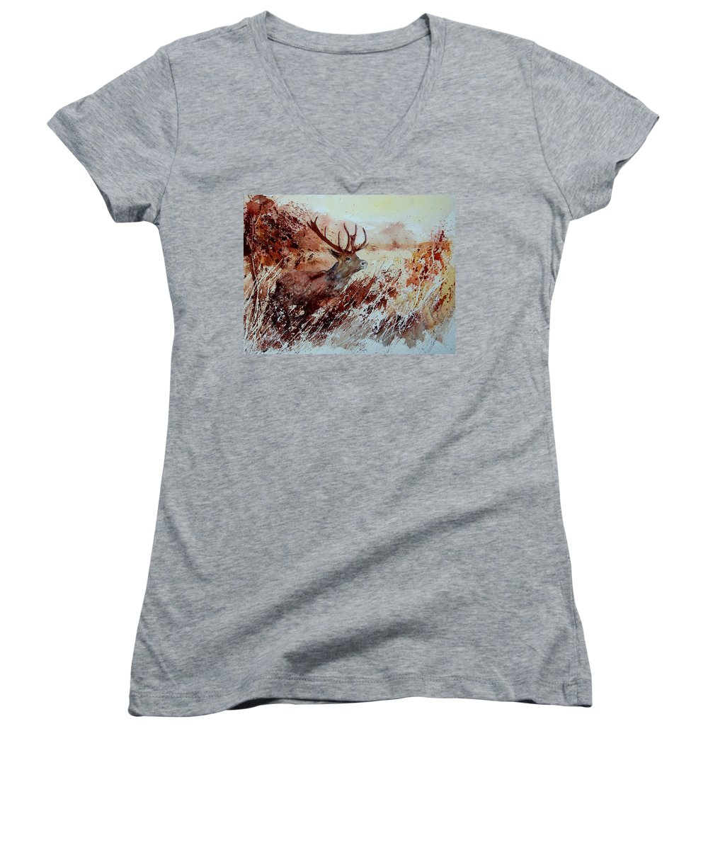 Animal Women's V-Neck (Athletic Fit) featuring the painting A Stag by Pol Ledent