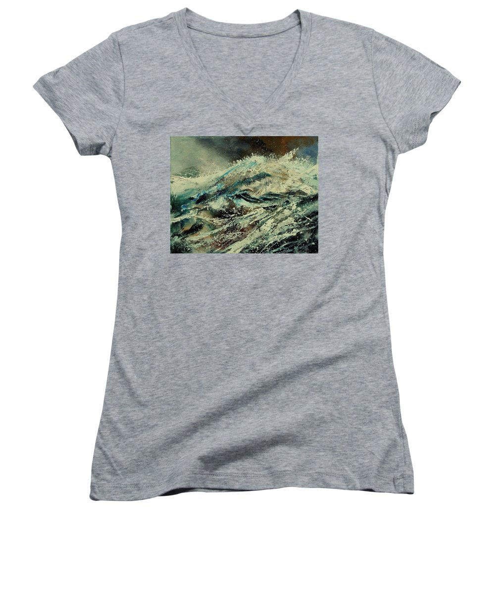 Sea Women's V-Neck (Athletic Fit) featuring the painting A Wave by Pol Ledent