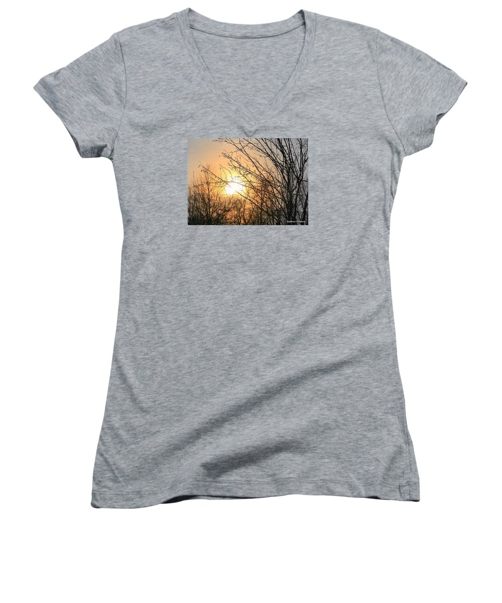 Sun Women's V-Neck T-Shirt featuring the photograph A Winter's Day After Glow by J R Seymour