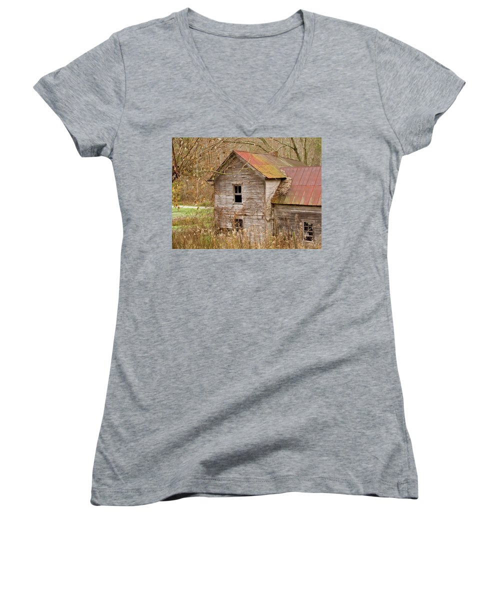 Abandoned Women's V-Neck (Athletic Fit) featuring the photograph Abandoned House With Colorful Roof by Douglas Barnett