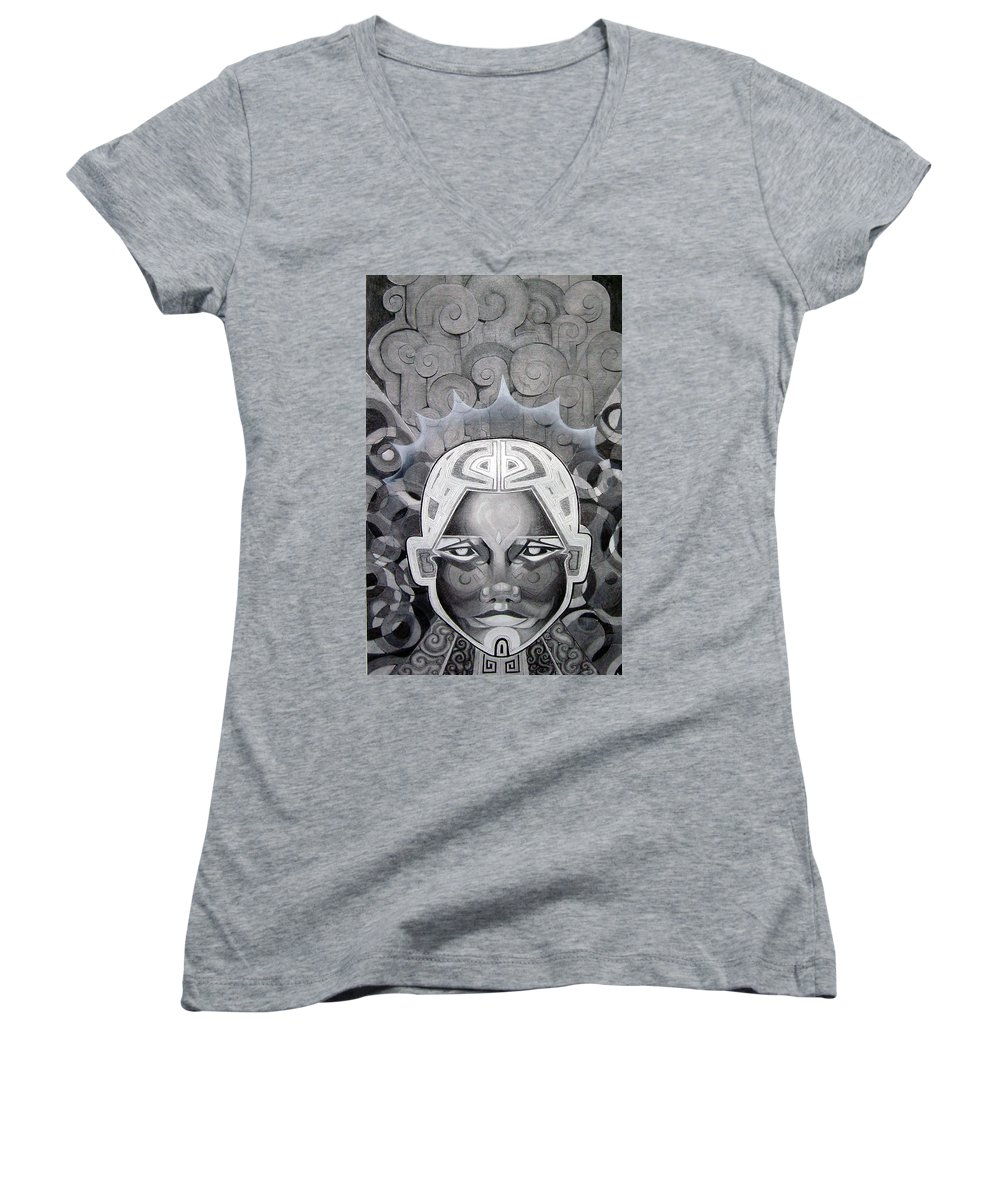 Art Women's V-Neck (Athletic Fit) featuring the drawing Abcd by Myron Belfast