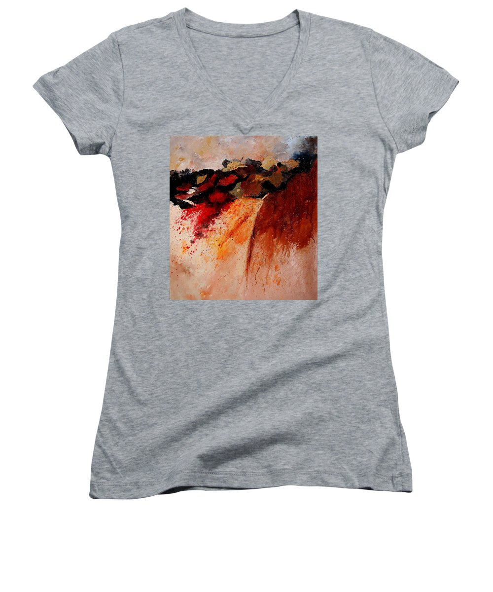Abstract Women's V-Neck (Athletic Fit) featuring the painting Abstract 010607 by Pol Ledent